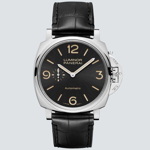 Panerai Reloj Luminor Due Acero pulido con Correa Negra 45mm