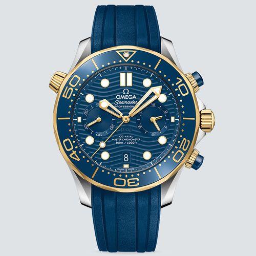 Omega Reloj Semaster Diver 300M Oro Amarillo y Pulsera de Caucho 44mm