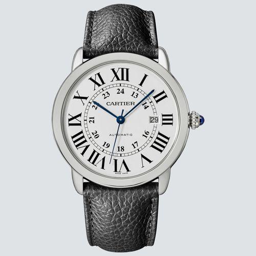 Cartier Reloj Ronde Solo Acero y Correa de Cuero 42mm