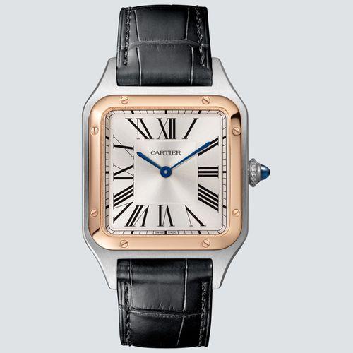 Cartier Reloj Santos-Dumont Acero y Oro Rosa Correa de Piel Color Negro 43.5mm