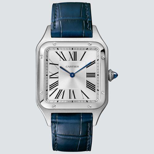 Cartier Reloj Santos-Dumont Acero y Correa de Piel Azul 43,5mm