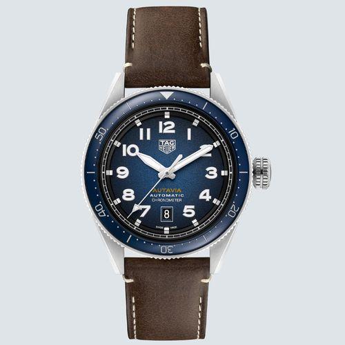 TAG Heuer Reloj AUTAVIA Automático Dial Azul con Correa Marrón 42 mm
