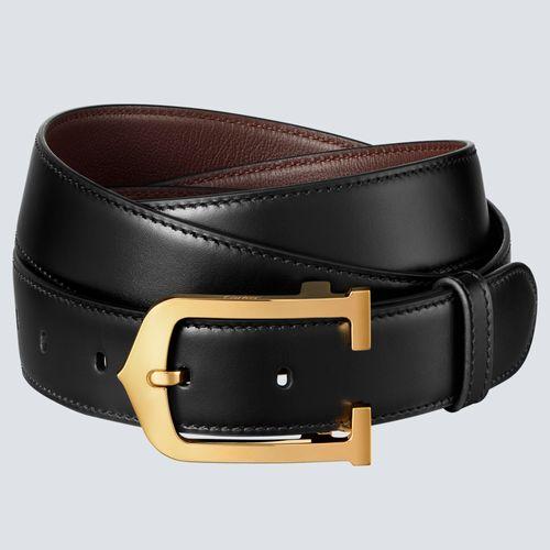 Cartier Cinturón C Alargada Reversible Negro / Marrón